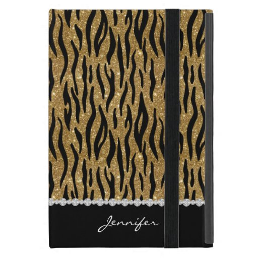 Black & Gold Glitter Tiger Print Diamonds W/Name Case For iPad Mini