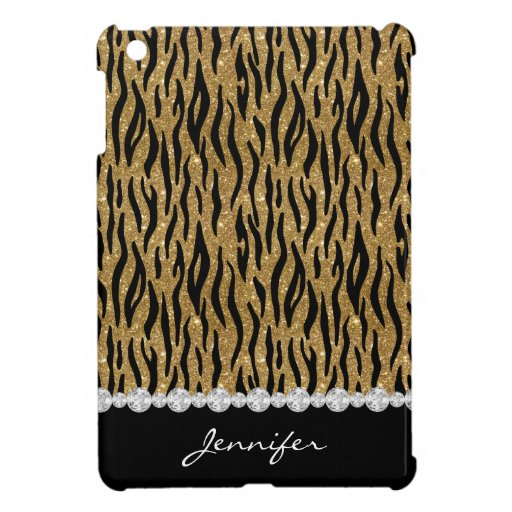 Black & Gold Glitter Tiger Print Diamonds W/Name Case For The iPad Mini