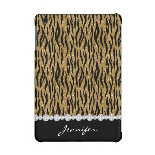 Black & Gold Glitter Tiger Print Diamonds W/Name iPad Mini Case