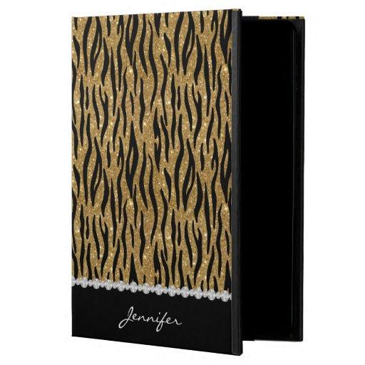 Black & Gold Glitter Tiger Print Diamonds W/Name Powis iPad Air 2 Case