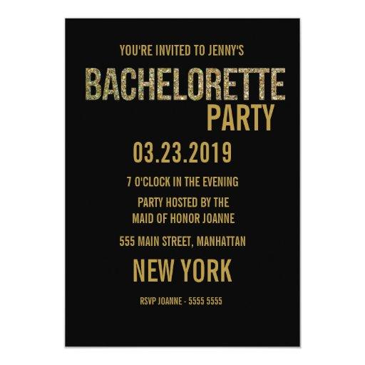 """Black Gold Glitter Typography Bachelorette Invite 5"""" X 7"""" Invitation Card"""