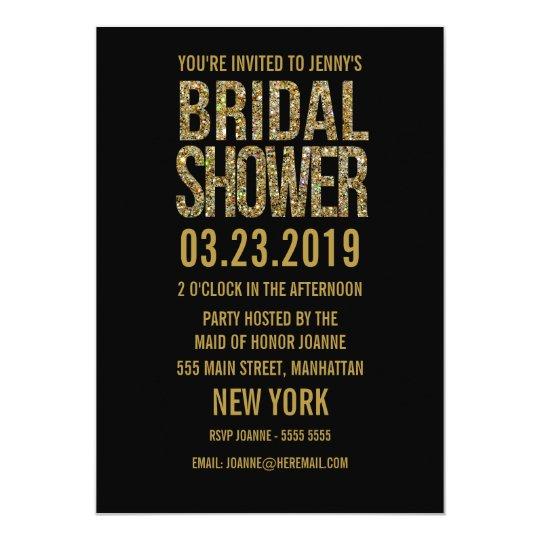 Black Gold Glitter Typography Bridal Shower Invite