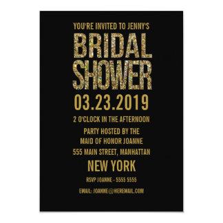 "Black Gold Glitter Typography Bridal Shower Invite 5"" X 7"" Invitation Card"