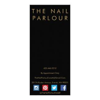 Black & Gold Glitter Typography Salon Menu Cards