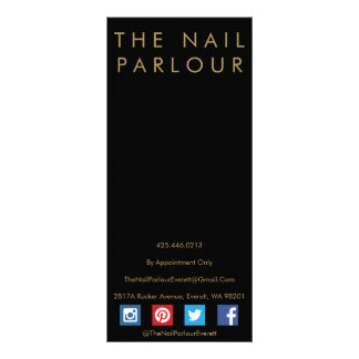 Black & Gold Glitter Typography Salon Menu Cards Customized Rack Card