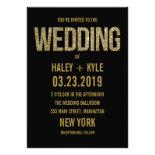 Black & Gold Glitter Typography Wedding Invitation