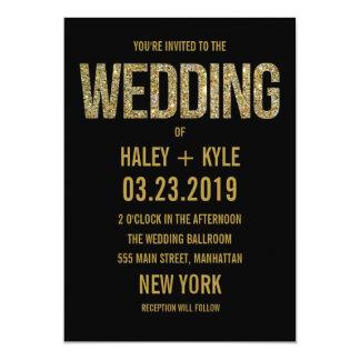 "Black & Gold Glitter Typography Wedding Invitation 5"" X 7"" Invitation Card"