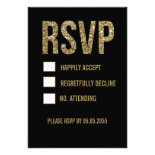 Black & Gold Glitter Typography Wedding RSVP Cards