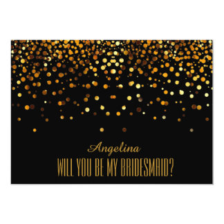 Black Gold Glitter Will you be my bridesmaid? Card