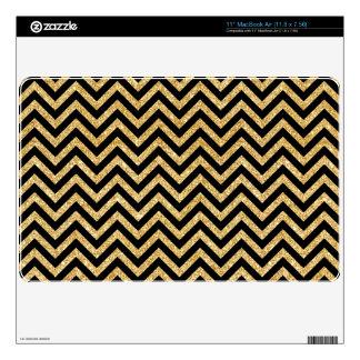"Black Gold Glitter Zigzag Stripes Chevron Pattern 11"" MacBook Air Decal"
