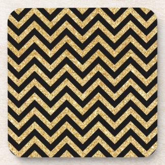 Black Gold Glitter Zigzag Stripes Chevron Pattern Beverage Coaster