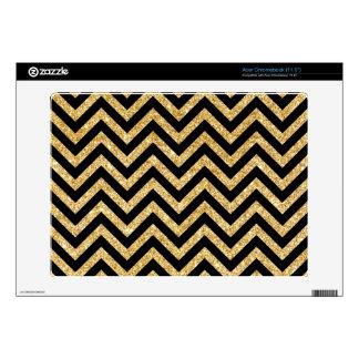 Black Gold Glitter Zigzag Stripes Chevron Pattern Decal For Acer Chromebook