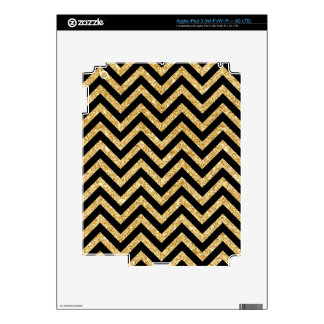 Black Gold Glitter Zigzag Stripes Chevron Pattern iPad 3 Skin