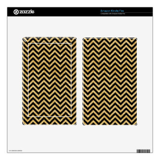 Black Gold Glitter Zigzag Stripes Chevron Pattern Kindle Fire Decal