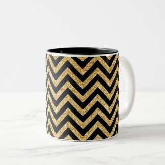 Black Gold Glitter Zigzag Stripes Chevron Pattern Two-Tone Coffee Mug