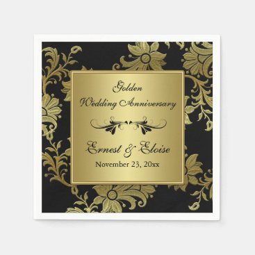 Black, Gold Golden Wedding Anniversary Napkins
