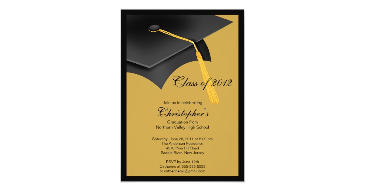 Black Gold Grad Cap Graduation Party Invitation Zazzle