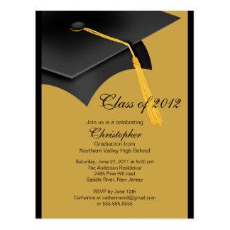 Black Gold Grad Cap Graduation Party Invitation Postcard