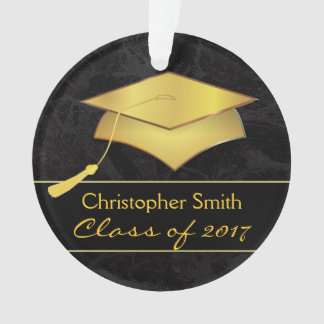 Black Gold Grad Cap - Graduation Photo Gift Ornament