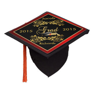 Black & Gold Graduate with Diy Year and Name Graduation Cap Topper