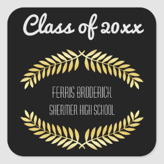 Black Gold Graduation Party Favor | Class Year Square Sticker