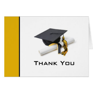 Black & Gold Graduation Thank You Note Card