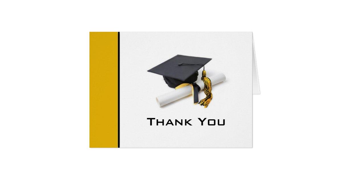Black Amp Gold Graduation Thank You Note Card Zazzle Com