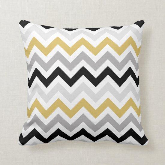 Black Gold Gray White Chevron Zigzag Pattern Throw Pillow