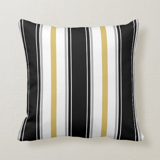 Black Gold Gray White Vertical Stripes Pattern Throw Pillow