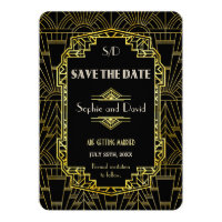 Black & Gold Great Gatsby Art Deco Save The Date Card
