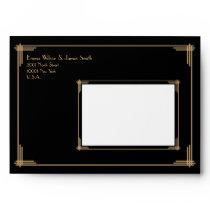 Black Gold Great Gatsby Art Deco Wedding Envelopes