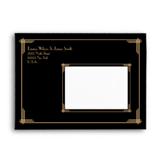 Black Gold Great Gatsby Art Deco Wedding Envelopes