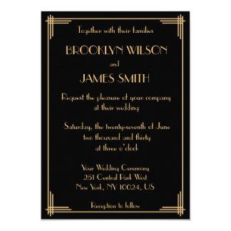 Black Gold Great Gatsby Art Deco Wedding Invites