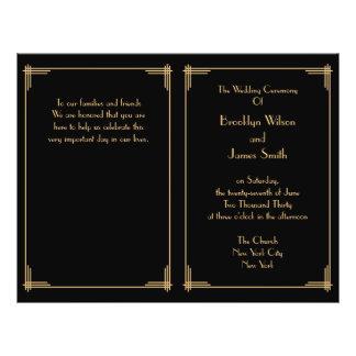 Black Gold Great Gatsby Art Deco Wedding Programs