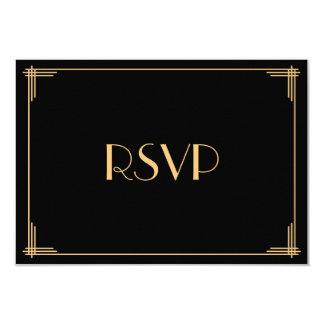 Black Gold Great Gatsby Art Deco Wedding RSVP Card