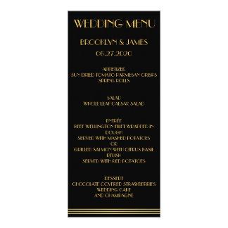 Black Gold Great Gatsby Wedding Menu Cards Custom Rack Cards