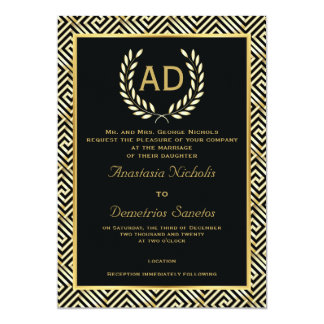 Black, gold Greek key and laurel wreath wedding Card