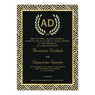 Black, gold Greek key and laurel wreath wedding 5x7 Paper Invitation Card