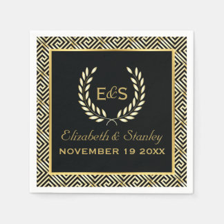 Black, gold Greek key and laurel wreath wedding Napkin