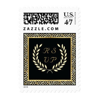 Black, gold Greek key & laurel wreath wedding RSVP Postage