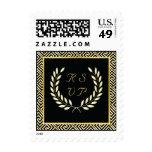 Black, gold Greek key & laurel wreath wedding RSVP Stamps