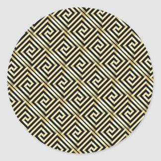 Black, gold Greek key pattern Classic Round Sticker