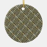 Black, gold Greek key pattern Ornament