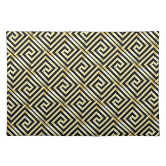 Black, gold Greek key pattern Place Mats