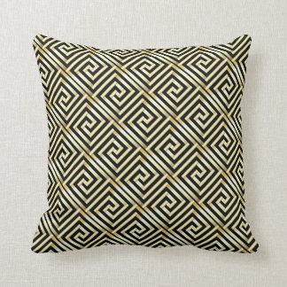 Black, gold Greek key pattern Throw Pillows