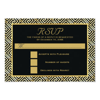 Black, gold Greek key wedding RSVP reply Card