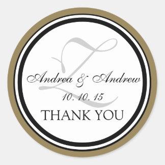 Black Gold Grey Monogram Z Wedding Thank You Classic Round Sticker