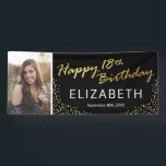 """Black Gold Happy 18th Birthday Photo Banner<br><div class=""""desc"""">Modern 18th birthday party banner featuring a stylish black background that can be changed to any color,  a photo of the birthday boy/girl,  gold sparkly glitter,  the words """"happy 18th birthday"""" in a faux gold foil script,  their name,  and the date.</div>"""