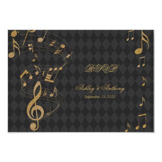 Black Gold Harlequin Music Notes Wedding RSVP card