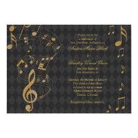 Black Gold Harlequin Music Wedding Invitation